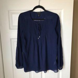 WHBM sheer navy peasant top/blouse